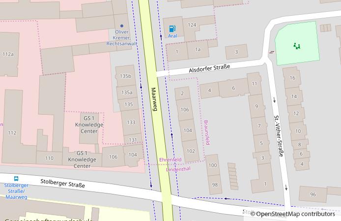 Straßenkarte Köln, Maarweg und Umgebung